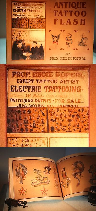 Tattoo Flash: Antique Tattoo Design Book Collectable Sailor Jerry Vintage Prof. Eddie Poferl -> BUY IT NOW ONLY: $39.95 on eBay!