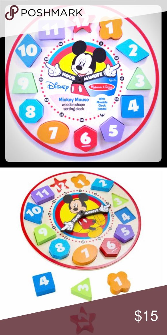 ✨New✨Melissa & Doug Disney! It's time for fun with Mickey! Place the numbered wooden shapes and turn the hands—children will develop fine motor skills while exploring numbers, colors and matching, too. The time is always right for learning!   Disney Mickey Mouse Wooden Shape Sorting Clock:  It's time for fun with Mickey Place the numbered wooden shapes and turn the hands — children will develop fine motor skills while exploring numbers, colors, and matching, too The time is always right for…