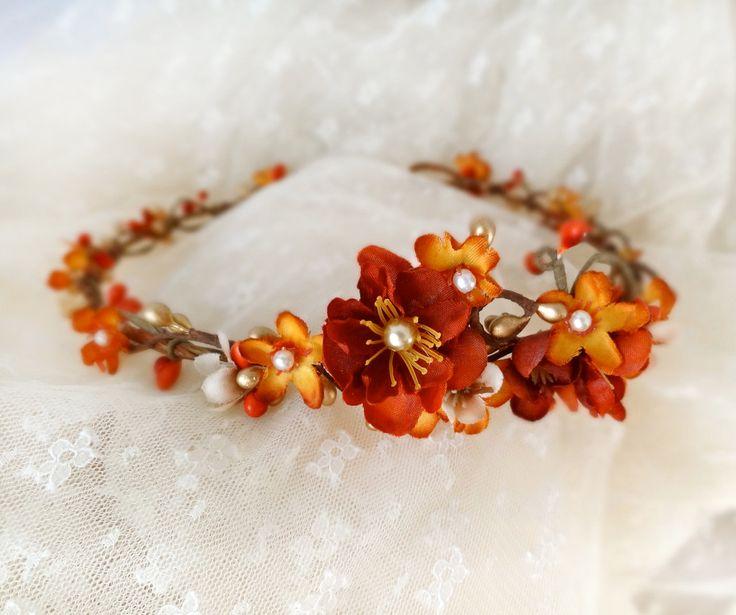 fall bridal hair circlet, burnt orange flower hair accessory, orange autumn wedding - FOREST NYPMH - rustic, gold, headpiece. $85.00, via Etsy.