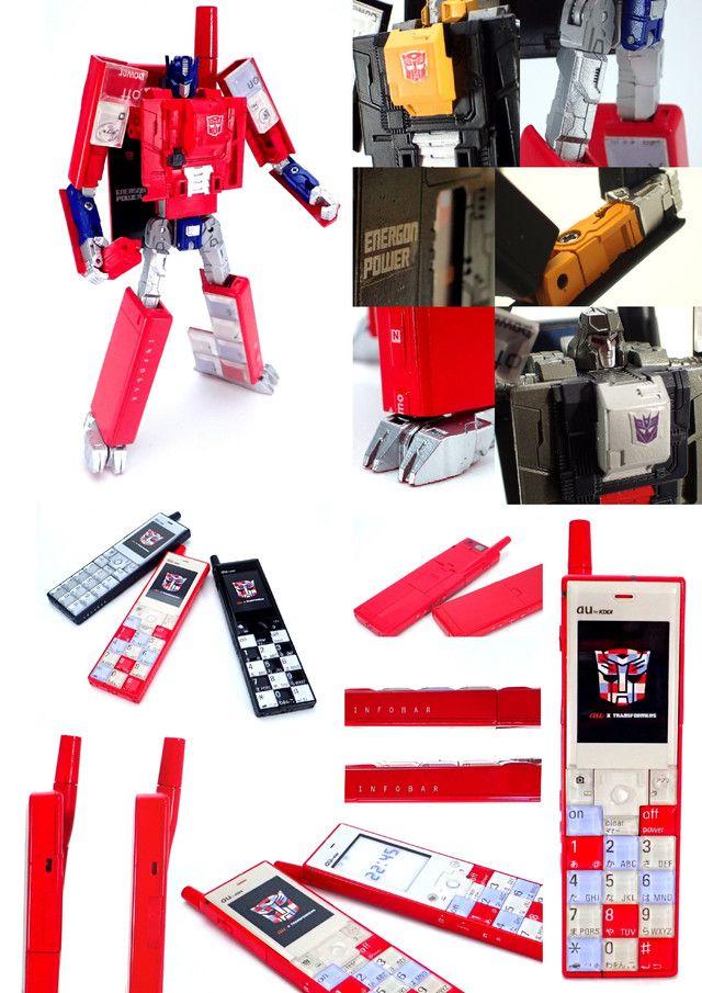 ハリウッド実写映画化10周年を迎える「トランスフォーマー」と、 au design project 15周年を迎える「au」がコラボレーション。 auとタカラトミーが、携帯電話型変形玩具を共同開発するプロジェクトです。  このプロジェクトで生まれた「INFOBAR OPTIMUS PRIME(NISHIKIGOI)」 「INFOBAR MEGATRON(BUILD