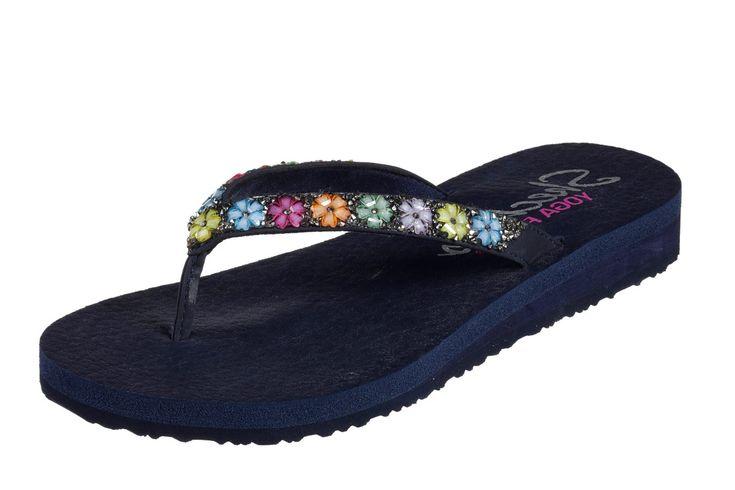 Skechers Meditation Daisy Delight Navy Flower Comfort Flip Flops Sandals
