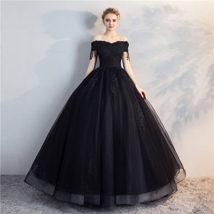 Off the Shoulder Black Ball Gown Prom Dress by prom dresses 84cd16716899