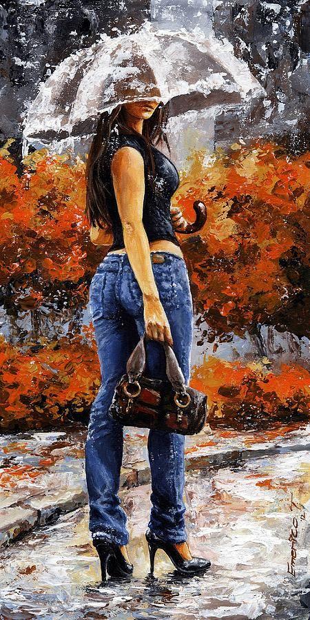 Rainy Day - Woman Of New York 14 Painting- Emerico Imre Toth