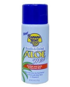 Banana Boat Sooth, A, Caine Aloe Mist Spray, 6 oz by Banana Boat. $6.25. For Use On: Body. Used For: After Sun Care. Scent: Aloe. Banana Boat Sooth-A-Caine Aloe Mist SprayComfort Is Only A Spray Away When you couldn't tear yourself away from the sun, mist your tender skin with Sooth-A-Caine® Aloe Mist Spray with Aloe Vera & Vitamin E. Fortified with Lidocaine and Menthol, it brings cooling relief to sunburns. • New! Child-resistant cap. • Formulated with Aloe ...