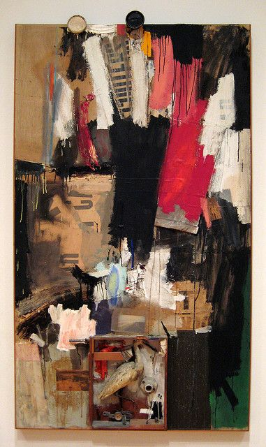 Robert Rauschenberg - 1959, Inlet. Combine: oil, newspaper, printed reproductions, paper, wood, metal, fabric, pant leg, zipper, wire hanger, paper clip, can lids, stuffed bird, toy pistol, light socket, conduit, compass, furniture wheel, and corkscrew on canvas (214.6 x 121.9 x 12.7 cm) The Panza Collection