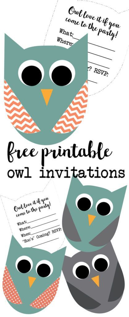 Free Printable Owl Invitations. These cute owl invitations are great for an owl birthday invitation or an owl baby shower invitation. Free printable owl party invitations for an owl theme party.