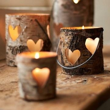 Birch Wood Heart Votive & Lantern, rustic wedding decor