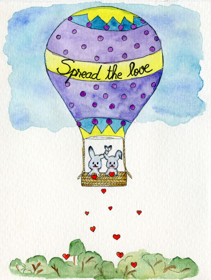 Spread the love. #story #love #heart #bunny #watercolour #cute