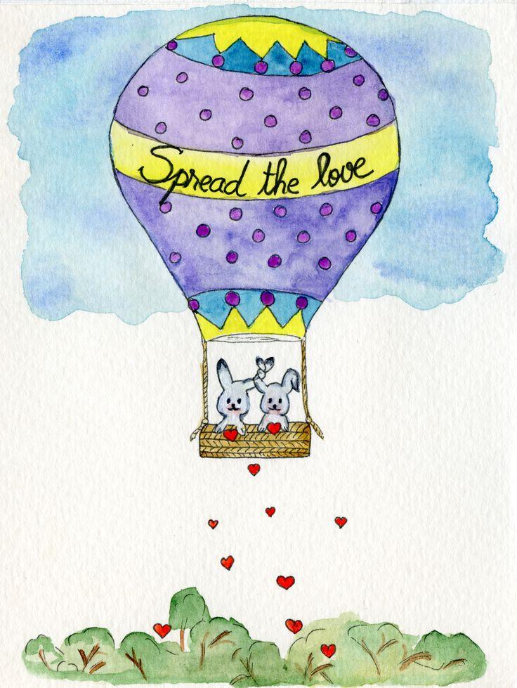 Spread the love. #story #love #heart #bunny #watercolour #cute