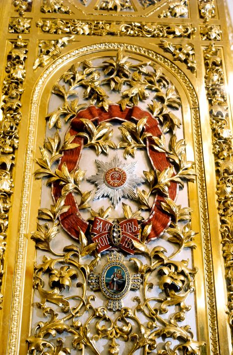 The detail of the doors of the Catherine's hall in the Grand Kremlin Palace, The Red Square, Moscow  ~ the door is decorated by the order of St Catherine, the award given onły to grand duchess/ princesses of Russia. The original order was founded by Peter I of Russia in 1710s to award his second and beloved wife Catherine, who later became the Empress Catherine I of Russia.