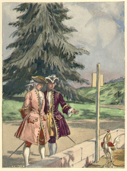 """""""Lord Pembroke's house [in Saint Albans] was not of the largest, but big enough to lodge twenty masters. [...] He shows me his gardens, his baths, his gazebos [and] a cock, chained in a coop, which really looked ferocious."""" from the 1932 French edition of Casanova's Histoire de ma Vie. Watercolor by Auguste Leroux (1871-1954)"""