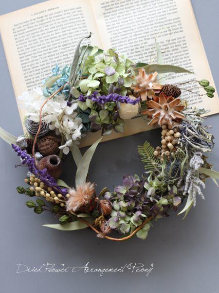 優しい秋のリース - ドライフラワーリース&アレンジ | Dried Flower Arrangement ''Peony'' ピオニー