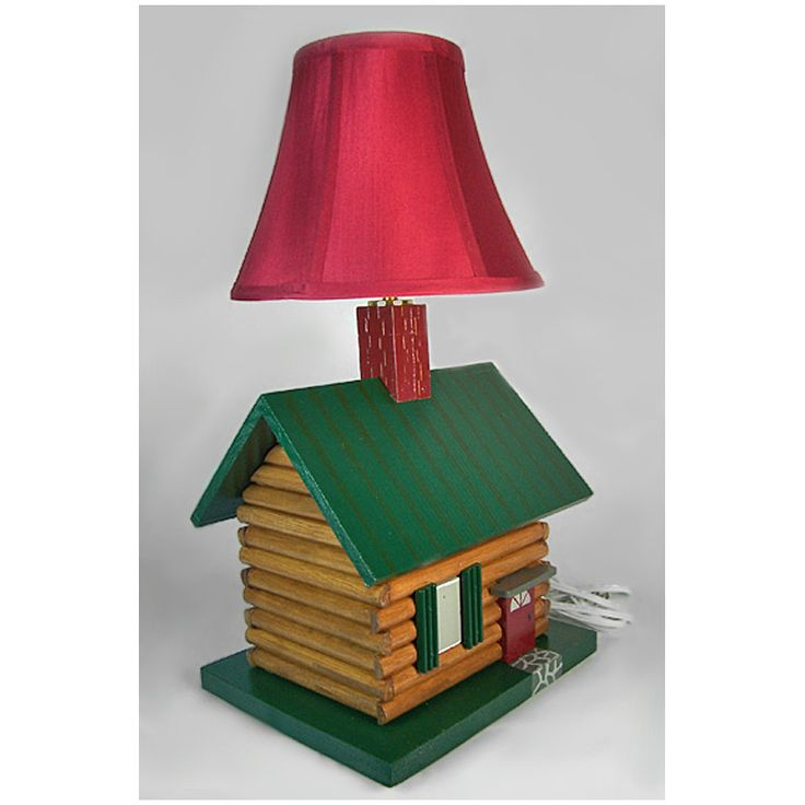 Log cabin lamp created in my wood shop choose your lamp shade more photos