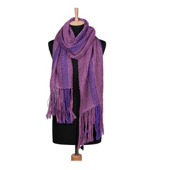 HANDWOVEN SHAWL PURPLE shawl unique accessory by HandwovenByT