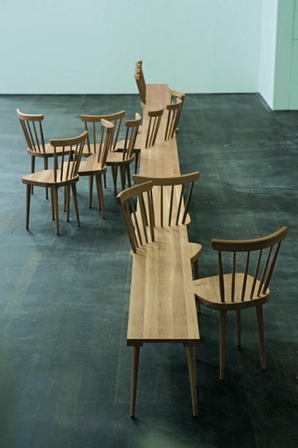 Stuhlhockerbank chair by Fehling  Peiz. Absolut großartige Sitzbank. Könnte in der Mitte eines Raumes aufgestellt sein. Es könnten auch ausgewählte Bücher darauf liegen und andere Kleinprodukte.