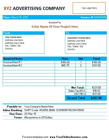 Invoice Template for Advertising Agency/Company