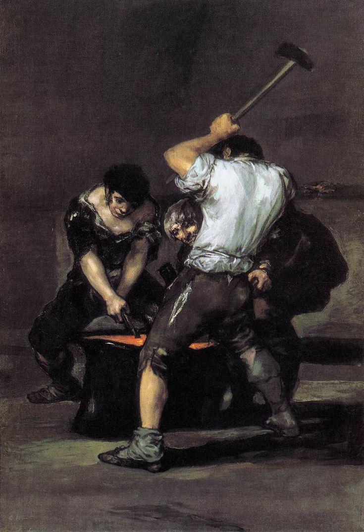 Francisco de Goya - The Forge (oil on canvas, c.1819)