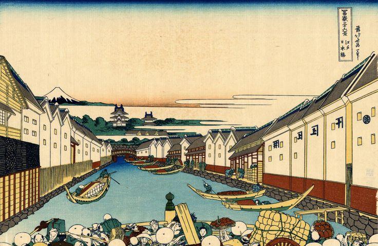 Katsushika Hokusai - 江戸日本橋-Edo Nihon-bashi
