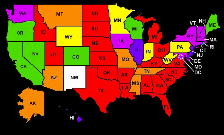 US map color coded by state gay marriage laws...engaygedweddings.com LGBT wedding directory resource.