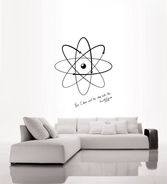 Science art physics Rutherford quote and model of atom vinyl wall decal for your lab classroom school university scientific decor on Etsy, $35.00
