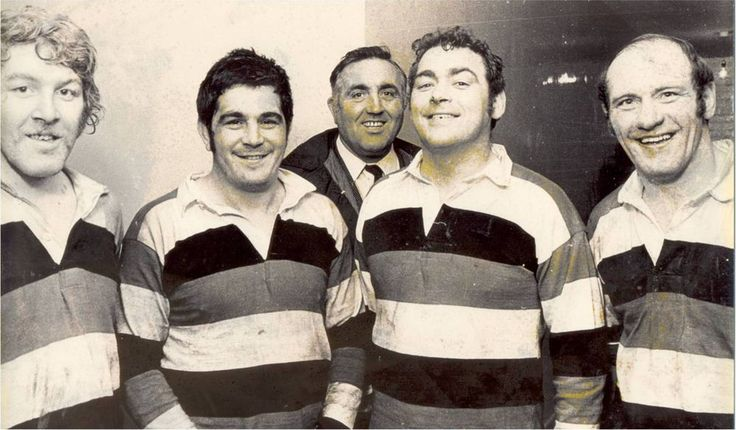 "Pontypool's 1977 Lions: Graham Price, Bobby Windsor, Tony ""Charlie"" Faulkner and Terry Cobner with coach and 1959 Lion Ray Prosser Pontypool RFC"
