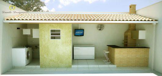Área externa com churrasqueira pequena | Decorando Casas