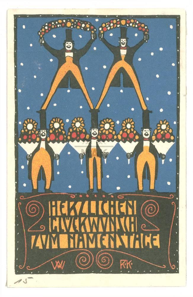 """Wiener Werkstatte Postcard // Postkarte 15 - Rudolf Kalvach Signatur:WW R.K.  """"HERZLICHEN GLÜCKWUNSCH ZUM NAMENSTAGE""""1907  Rückseitenfarbe:blau  Inventar:WWPK 280-1   Land:ÖsterreichStadt:Wien      Technik:Lithographie  Material:Papier  14 cm x 9 cm         WW Entwurfsnr.:WWPKE 368-2"""