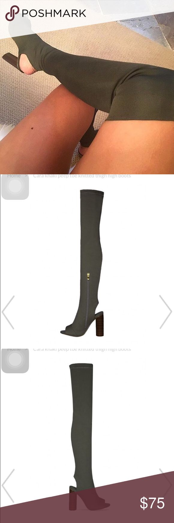 *READ DESCRIPTION* Cara Peep Toe Knit Thigh High Cara Peep Toe Knit Thigh High Boots. First picture is of the Yeezy season 3 boots, but these boots are a duplicate! Super cute and original brand is Public Desire UK. Never worn, great condition. Price is firm No trades, no offers! Won't ship TILL NEXT WEEK Missguided Shoes Over the Knee Boots