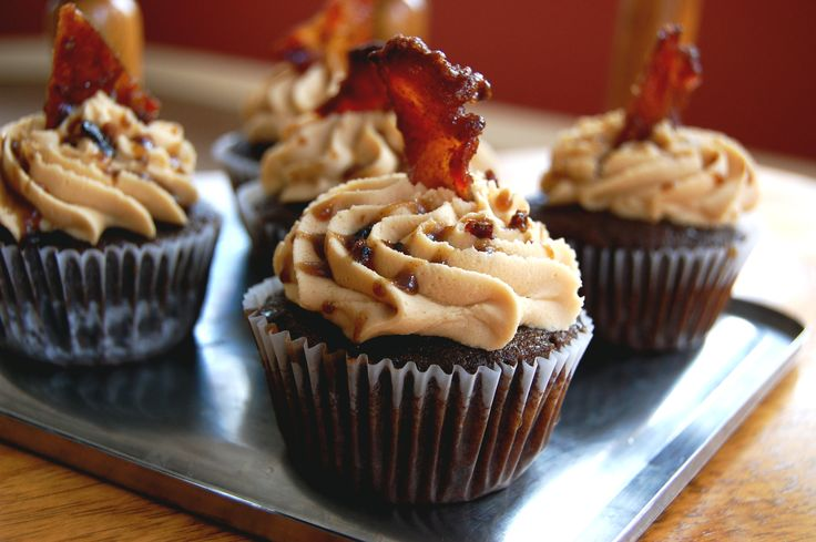 The Manly Cupcake. Chocolate cake, peanut butter frosting, with a maple bacon glaze