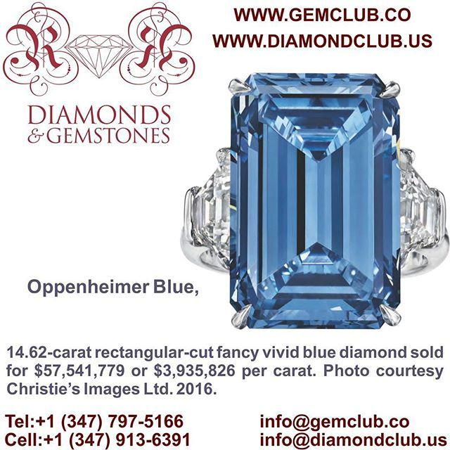 Oppenheimer Blue, 14.62-carat rectangular-cut fancy vivid blue diamond sold for $57,541,779 or $3,935,826 per carat. Photo courtesy Christie's Images Ltd. 2016.  #DiamondClub & #GemClub #Appraiser #Appraisal #Diamond #Gemstones #Jewelry #Watch #Antiques #Pearl #Ruby #Sapphire #Emerald #Gold #Silver #Platinum #Palladium #Luxury #Earrings #Ring #Bracelet #Pendant #Necklace #Brooch #Wedding #Anniversary #Valentine