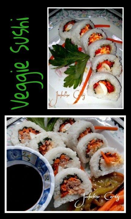 Finalmente he intentado preparar mi propia receta de Sushi. Creo que pasé la prueba! Ingredientes: - arroz - vinagre - azúcar - sal - zanahoria - pimientos asados - huevo - proteína de soja - acelga... So finally i decided to try making my own Sushi. I think it worked good! Ingredients: - rice - vinegar - sugar - salt - carrots - grilled pepers - egg - soy protein - chard