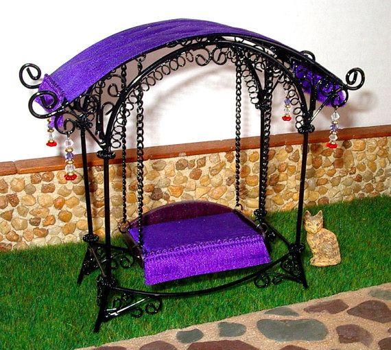 Fairy Garden Swing Dollhouse Miniature 1/12 Scale by CalicoJewels