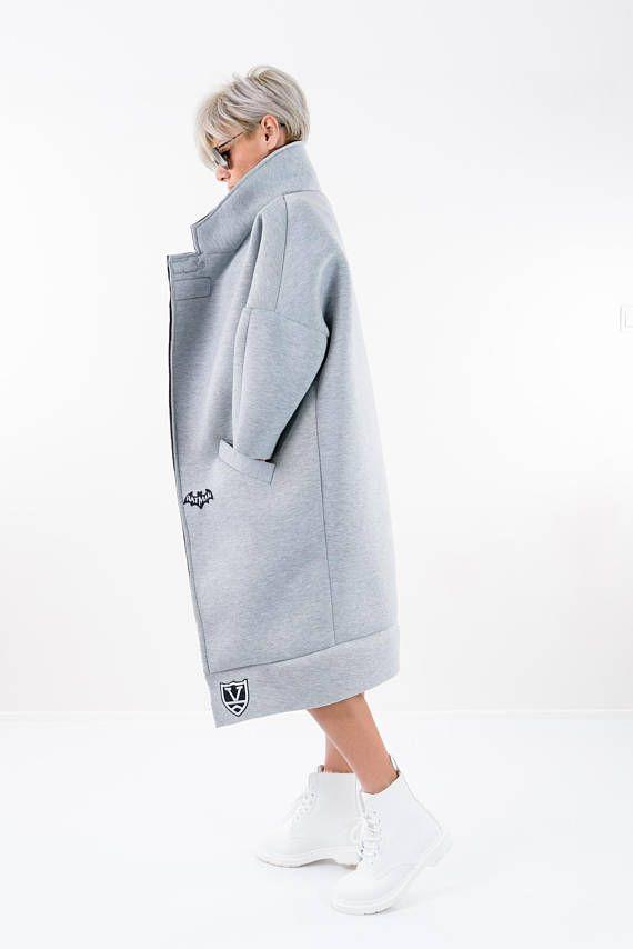 Maxi Coat Winter Coat Long Coat Grey Neoprene Coat Trench