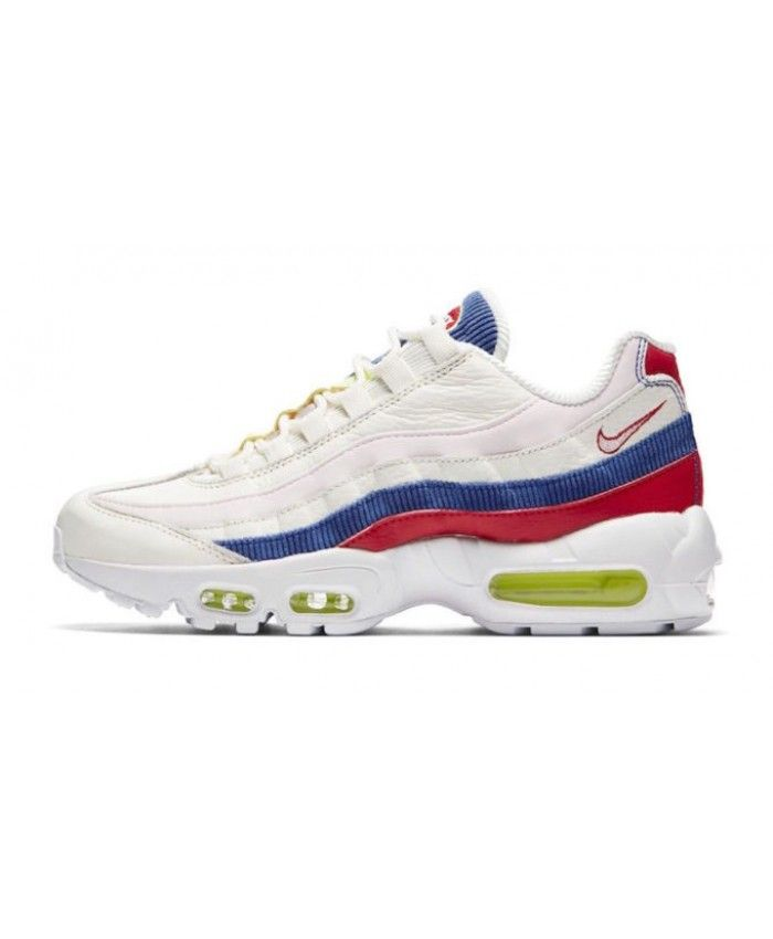 sale retailer 902e2 40541 Nike Air Max 95 Trainers In Corduroy White Yellow Blue Red Clearance