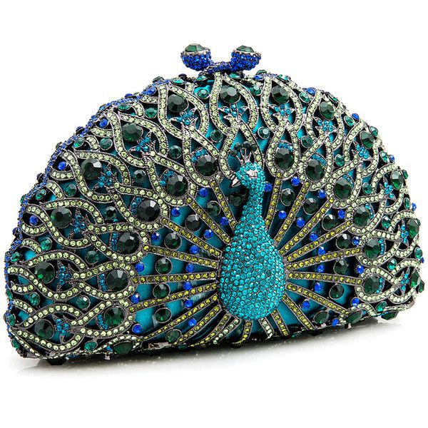 LuxMob Green Crystal Peacock Clutch found on Polyvore
