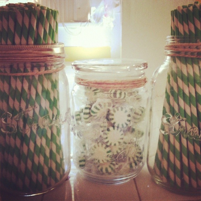 Use a glue gun to label jars!