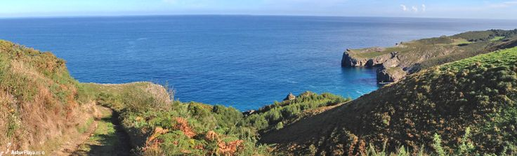 Panoramic view over the Pimiango cliffs, hiding El Regolgueru cove. In Asturias, Spain. Nowhere else!