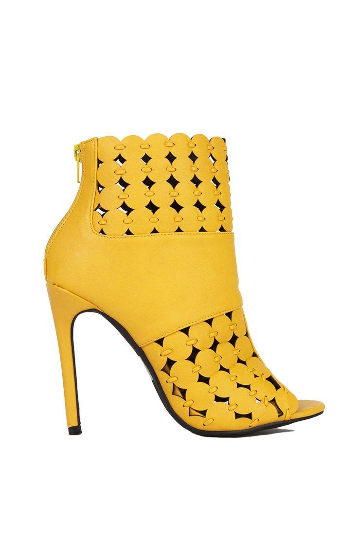 Peep Toe High Heel Bootie in Yellow