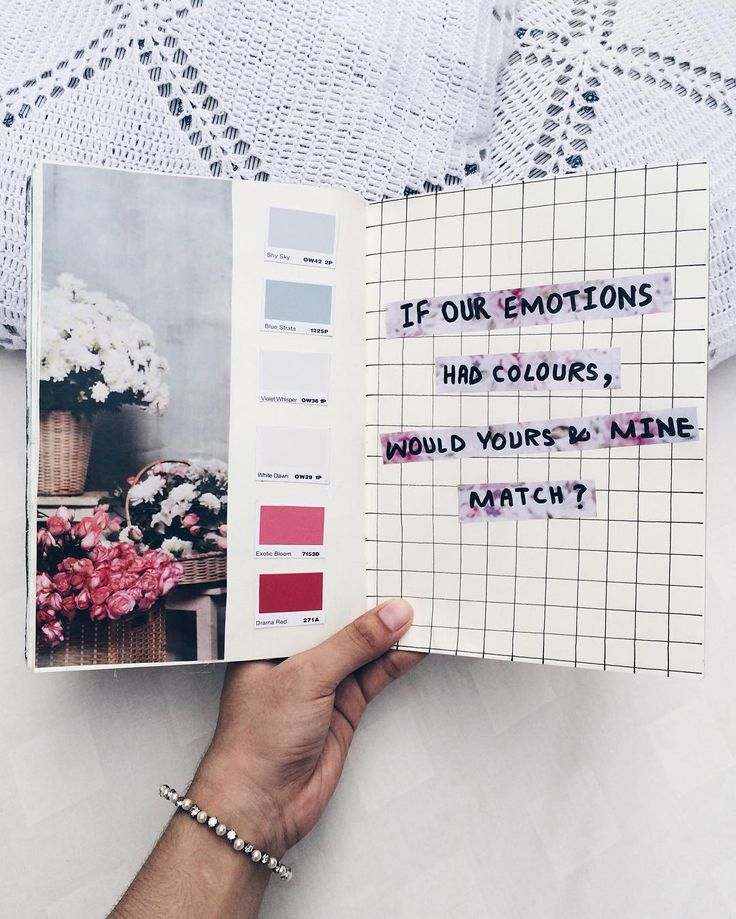If our emotions had colors, would yours & mine match? // art journal entry (from Noor Unnahar instagram https://www.instagram.com/noor_unnahar/) // art journal ideas inspiration, instagram tumblr worthy white aesthetics, flatlay, creative photography, notebook stationery craft // #creativephotography