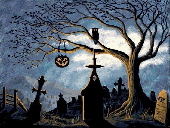 New Halloween Cross Stitch Pattern PDF Halloween Graveyard via Etsy