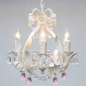 Chandeliers That Plug In: Iron Flower Plug In Chandelier Lighting With Pink *Hearts*,Lighting