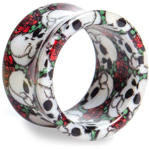 Blue Banana Rose Skull Tunnel (Black/White/Red) ($4.88) ❤ liked on Polyvore featuring jewelry, earrings, body jewelry, piercings, plugs, rose jewelry, rose jewellery, blue jewelry, red rose earrings and body jewellery