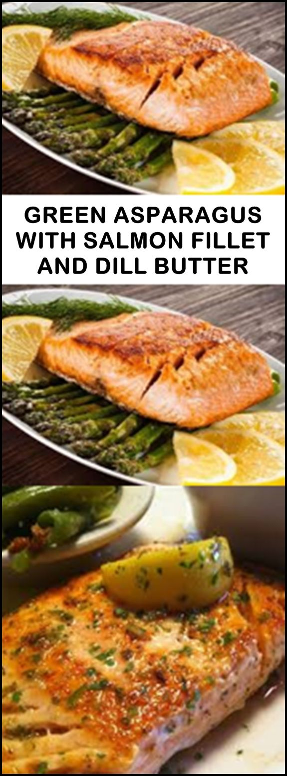 Salmon fillet is the best when it is juicy. With green asparagus and fresh dill, the dish is a real joy for palates
