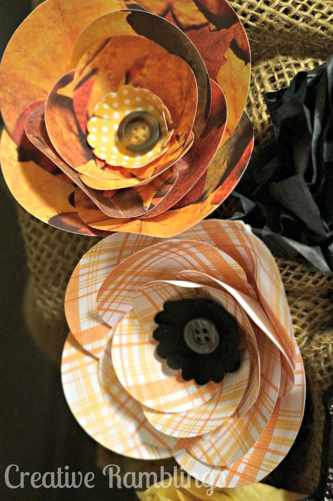Halloween Burlap with Paper Flowers