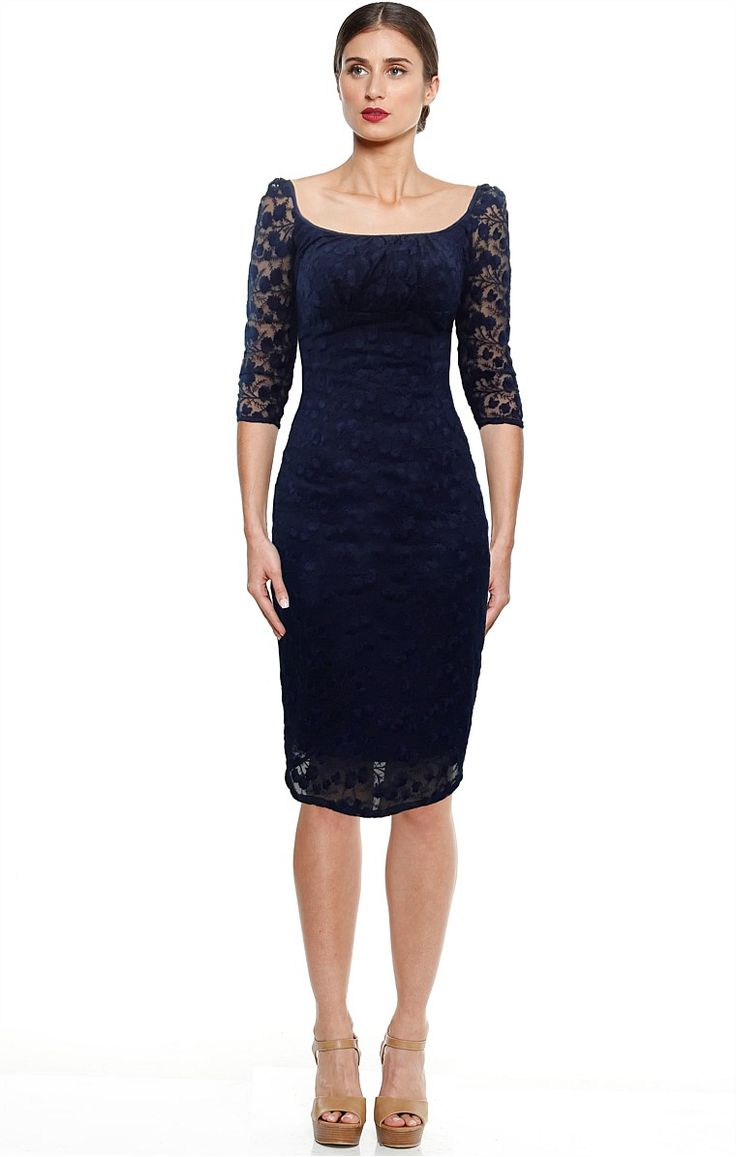 PIRANDELLO EMBROIDERED 3/4 SLEEVE FITTED SCOOP NECK DRESS IN NAVY