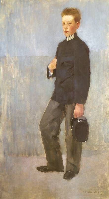 Portrait of a Boy in School Uniform, 1890 by Olga Boznańska (Polish, 1865-1940)