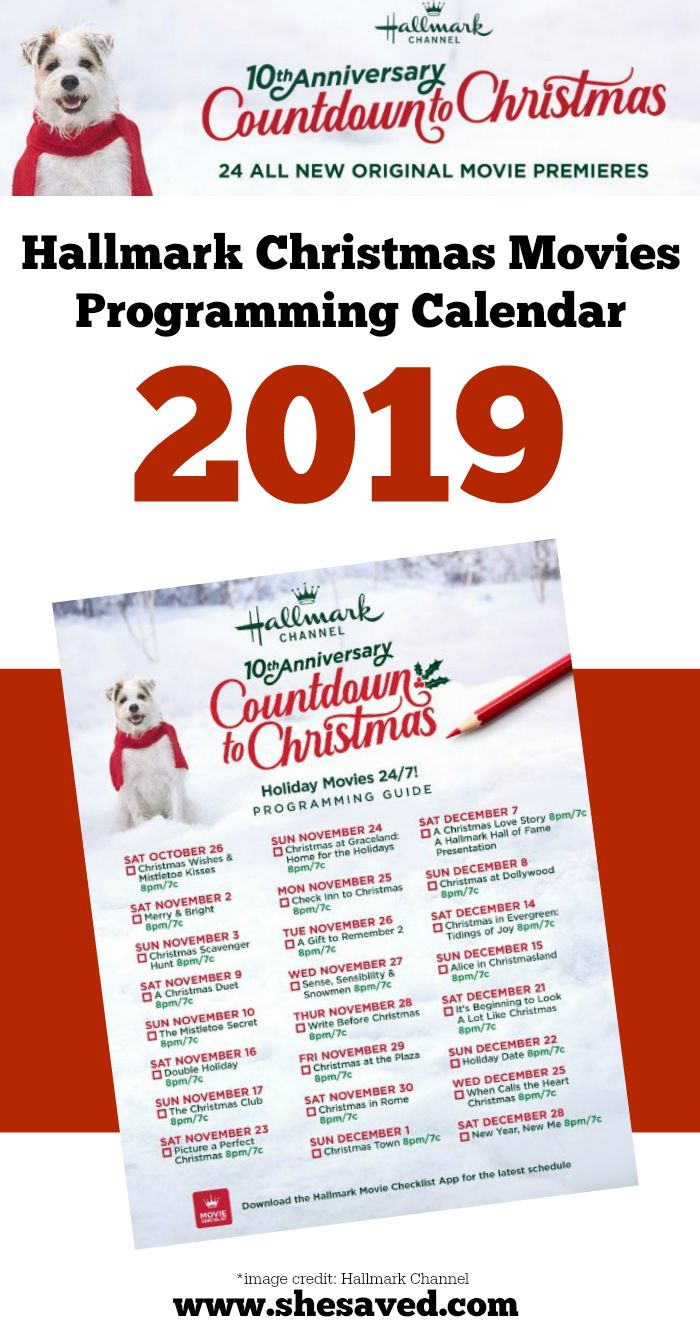 NEW Hallmark Christmas Movie Programming Calendar 2019