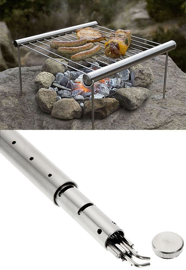 Grilliput Portable Camping Grill. At just over a pound in weight, the minimalist & highly packable design of this grill makes it perfect for camping and backpacking. All grill parts pack neatly inside the stainless steel tube to slide right into your pack with ease. via
