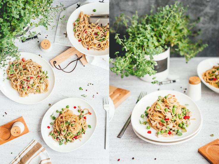 makaron z tunczykiem, pasta with tuna and green pea spaghetti, food photography, food styling, Joanna Bartnik