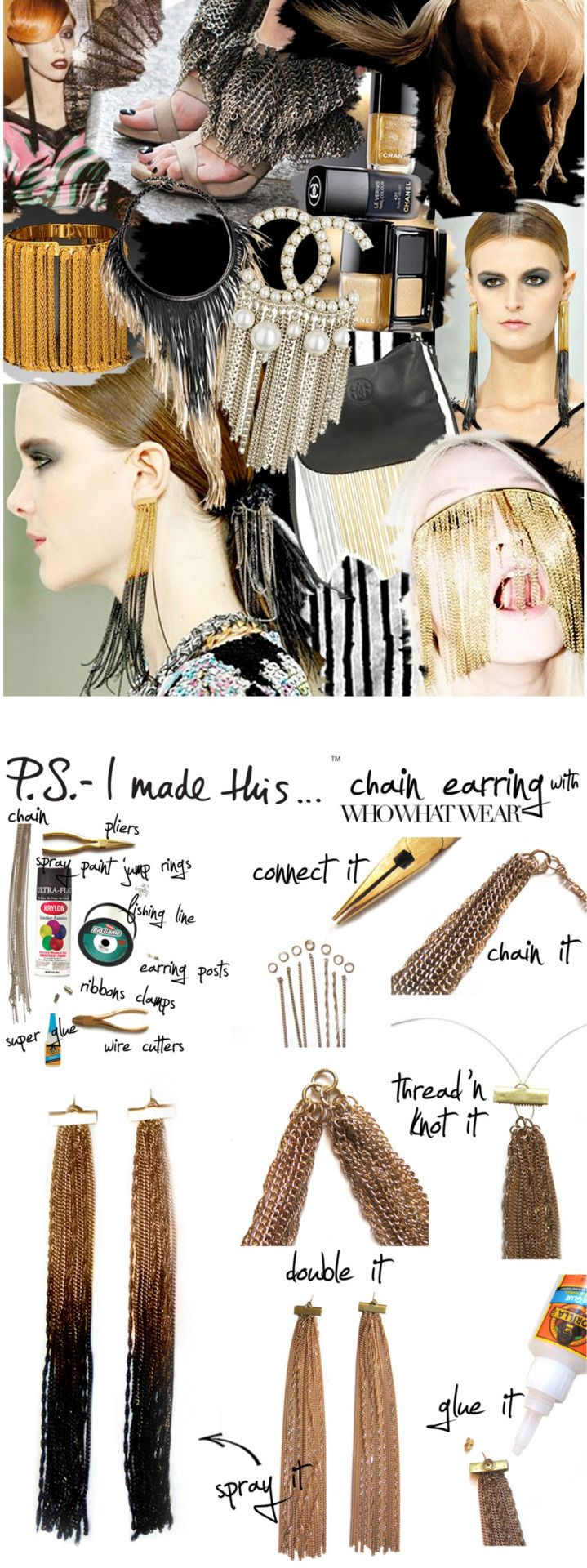 """""""L"""" stands for Long and Luxe. The lovely ladies at Who What Wear and I both fell hardcore for Chanel's dramatic chain earrings, which embody these 2 """"L's"""". Chanel's SS11 runway boasted gold and black..."""